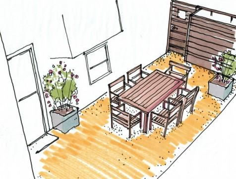 Berkeley Side Yard Concept Sketch Dining Area07112014